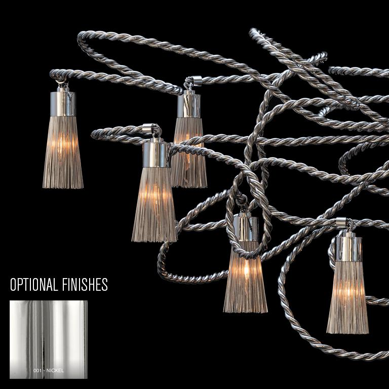 Contemporary Modern Chandelier in an Oval Shape in a Nickel Finish, Sultans of Swing For Sale
