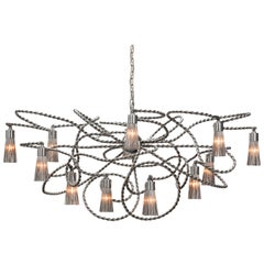Modern Chandelier in an Oval Shape in a Nickel Finish, Sultans of Swing