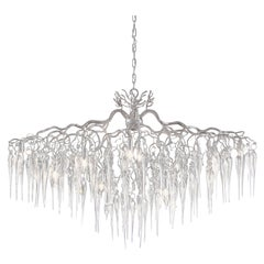 Modern Chandelier Oval in a Nickel Finish with Mouthblown Glass Icicles