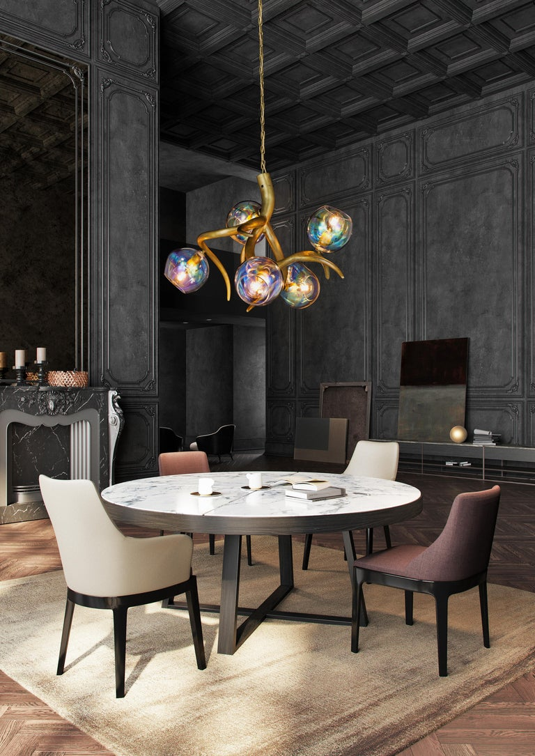 Dutch Modern Chandelier with Colored Glass in a Black Matt Finish, Ersa Collection For Sale