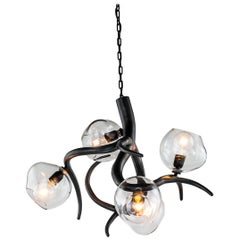 Modern Chandelier with Colored Glass in a Black Matt Finish, Ersa Collection