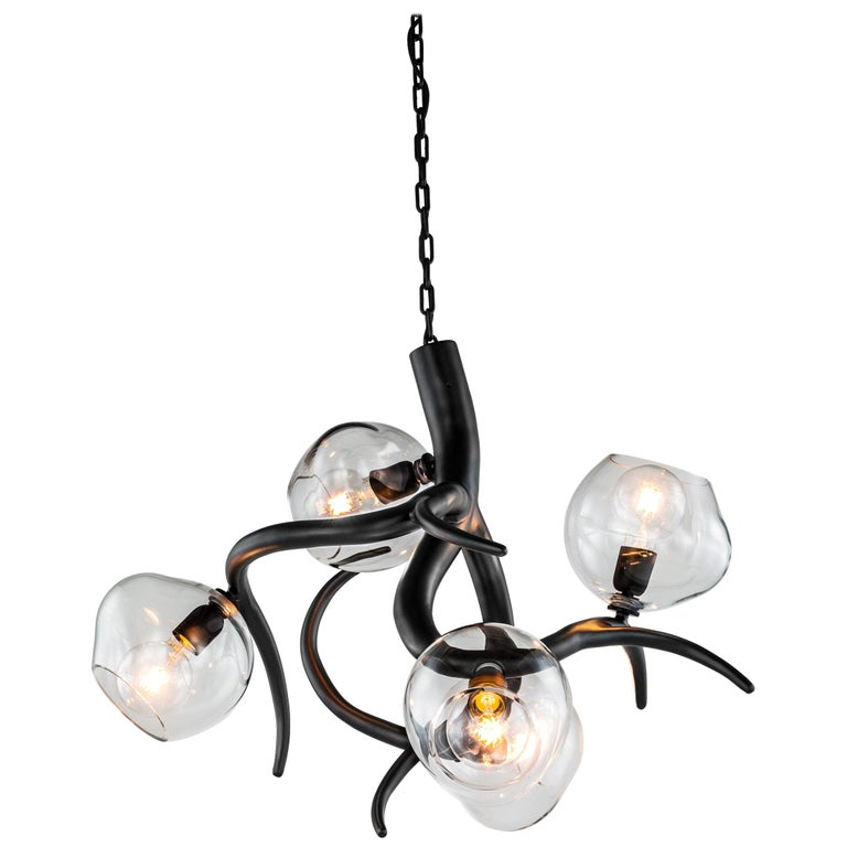 Modern Chandelier with Colored Glass in a Black Matt Finish, Ersa Collection For Sale
