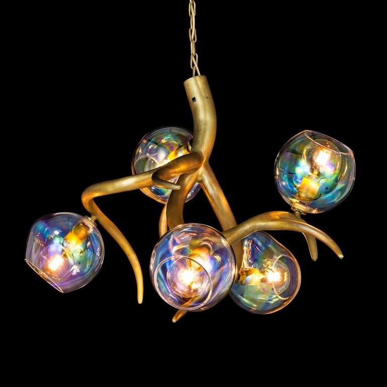Modern Chandelier with Colored Glass in a Brass Burnished Finish, Ersa