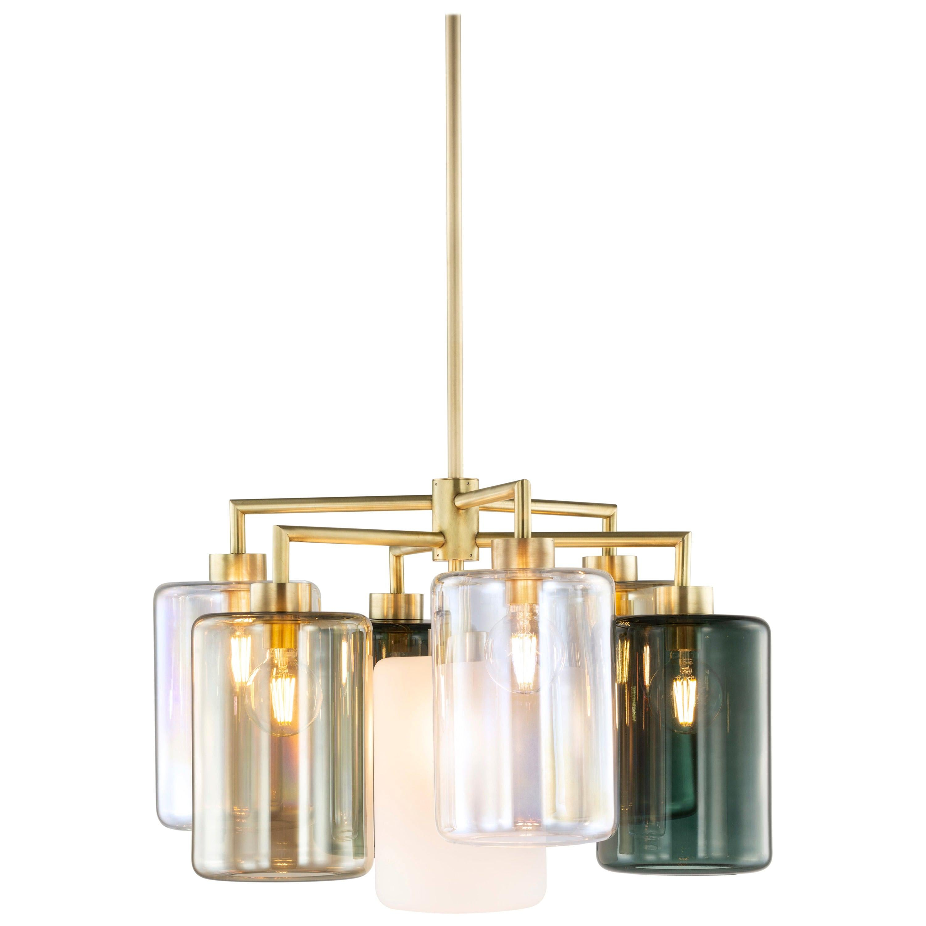 Modern Chandelier with Colored Glass in a Brass Burnished Finish, Louise