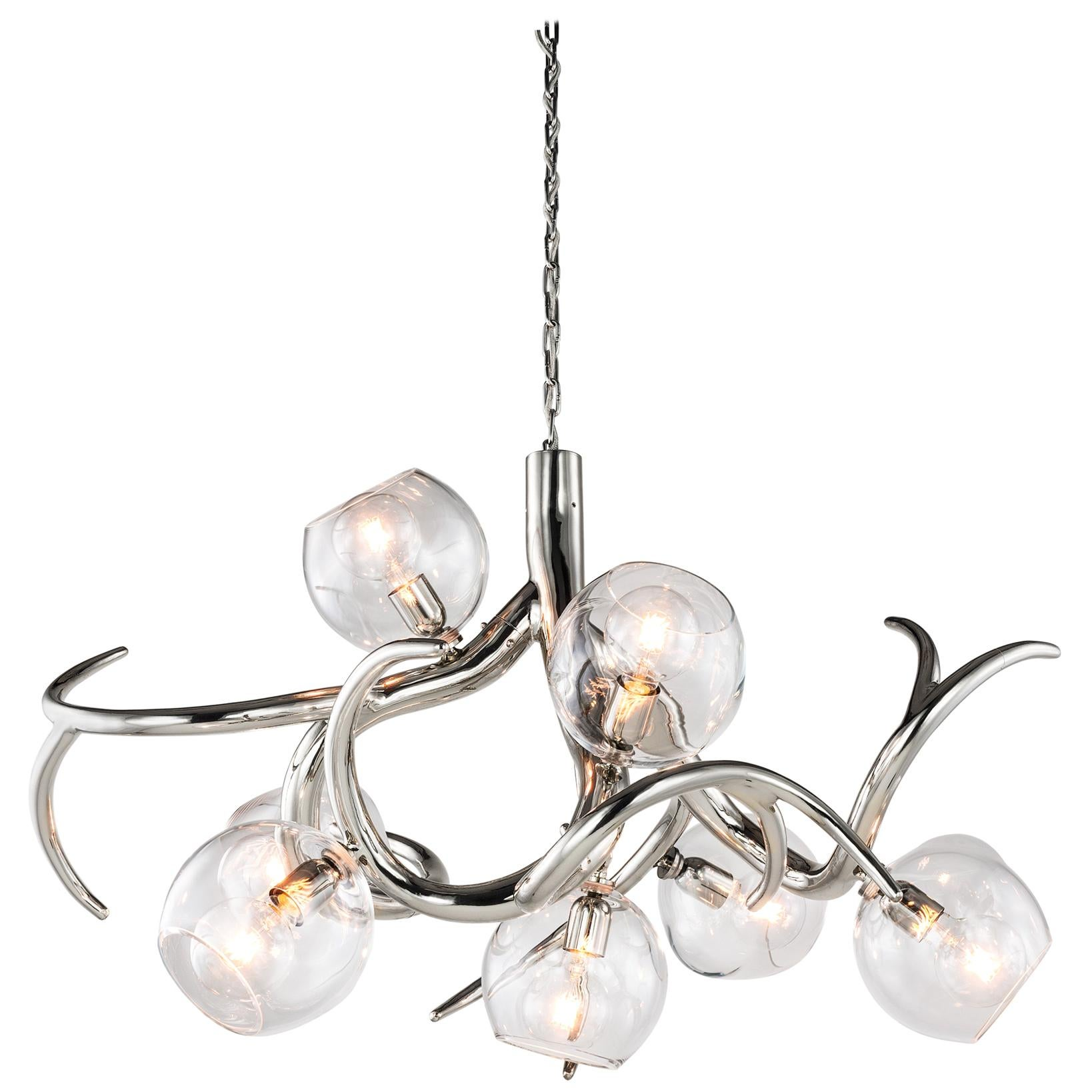 Modern Chandelier with Colored Glass in a Nickel Finish, Ersa Collection