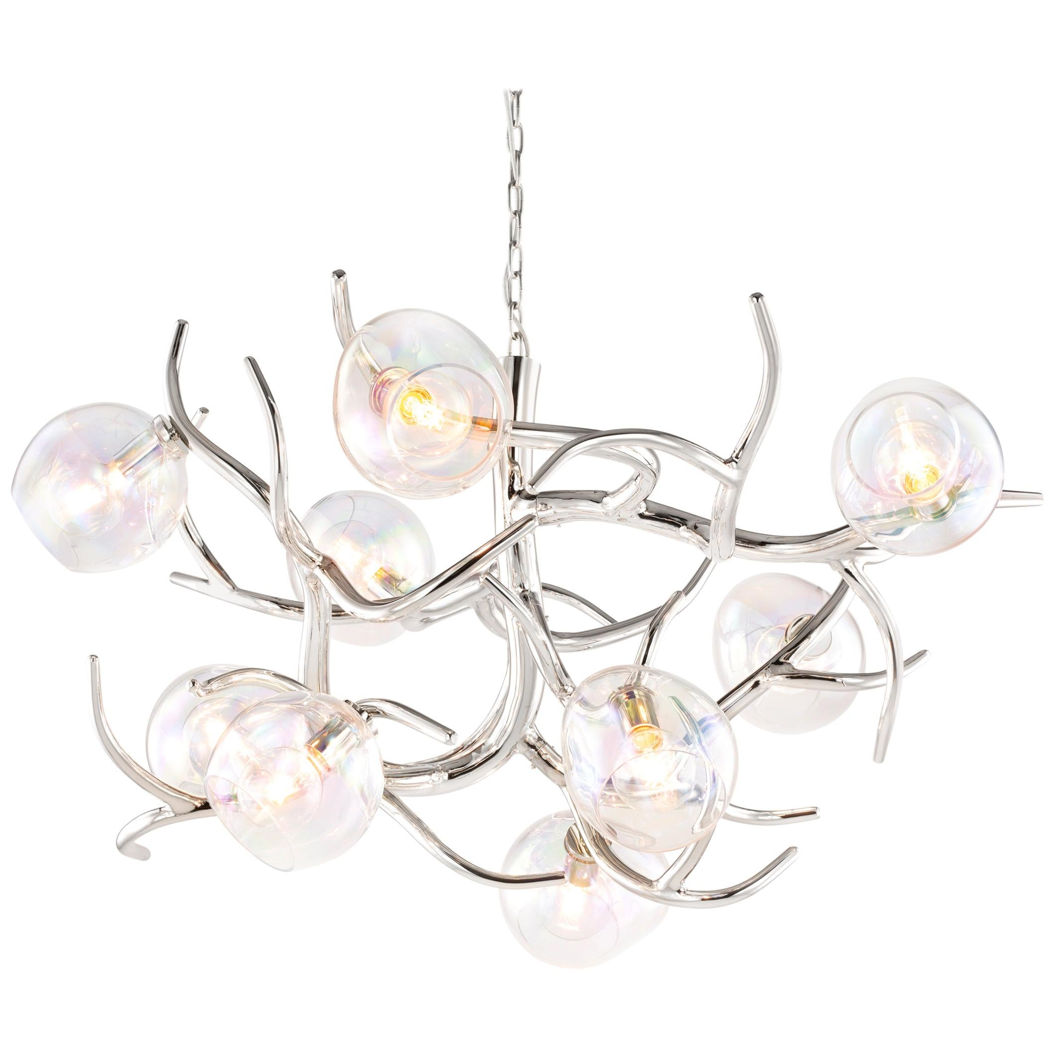 Modern Chandelier with Colored Glass in a Nickel Finish - Ersa Collection