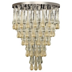 21st Century Chandelier Drop-Shaped Elements Gold and Silver Glass by Multiforme