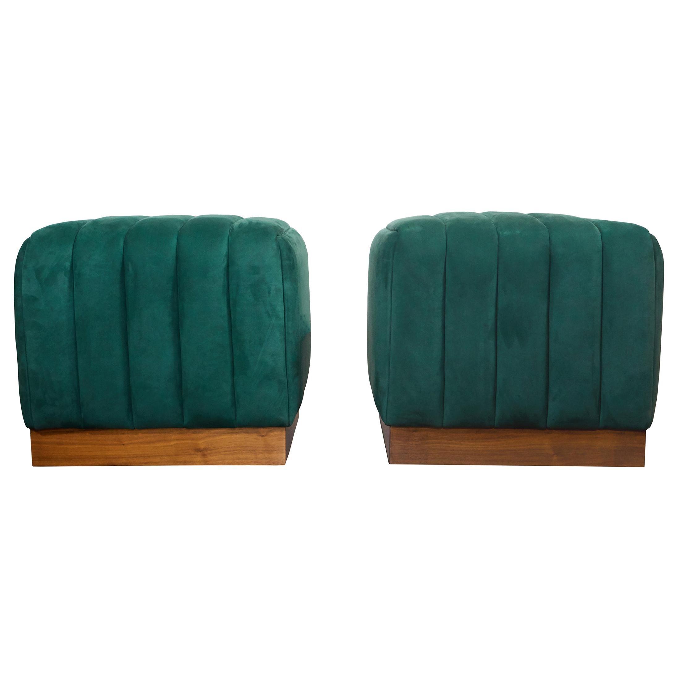 Modern Channel Detailed Nubuck Leather Upholstered Ottomans W/ Walnut Base S/Pr