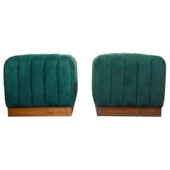 Modern Channel Detailed Nubuck Leather Upholstered Ottomans W/ Walnut Base S/Pr