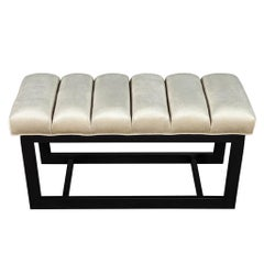 Modern Channeled Top Bench with Sleek Metal Base