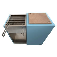 Modern Charcoal Barbecue with Sliding Grills, Snail Mono Vision Light Blue