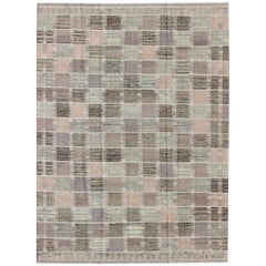 Modern Checkerboard or Patchwork Scandinavian Flat Weave Rug in Neutral Colors
