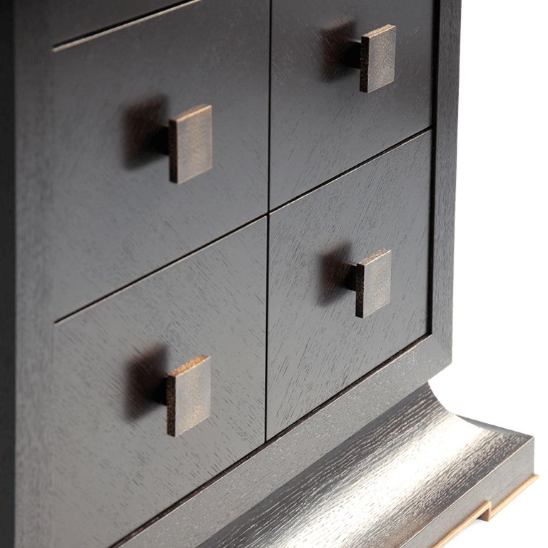 European Modern Chest of Drawers with Hand Hammered Brass Handles For Sale