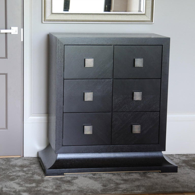 Contemporary Modern Chest of Drawers with Hand Hammered Brass Handles For Sale