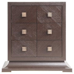 Modern Chest of Drawers with Hand Hammered Brass Handles