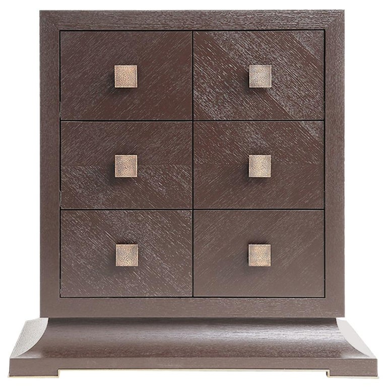 Modern Chest of Drawers with Hand Hammered Brass Handles For Sale