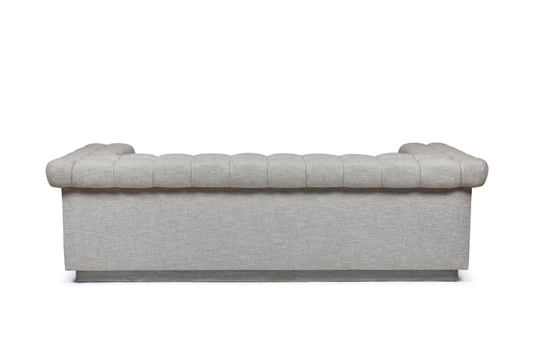 American Modern Chesterfield Style Sofa by Martin and Brockett, Linen, Brown, Cream For Sale