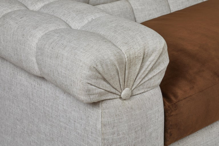 Contemporary Modern Chesterfield Style Sofa by Martin and Brockett, Linen, Brown, Cream For Sale