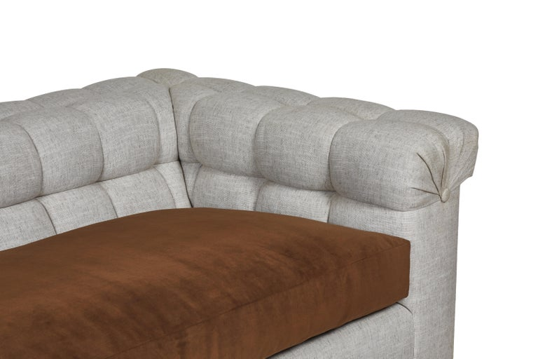 Upholstery Modern Chesterfield Style Sofa by Martin and Brockett, Linen, Brown, Cream For Sale