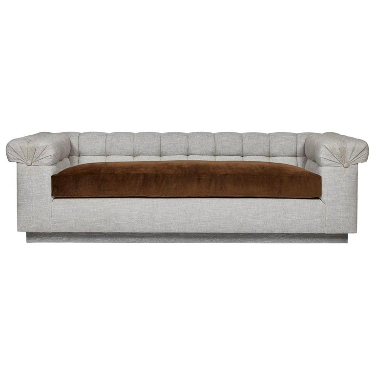 Modern Chesterfield Style Sofa by Martin and Brockett, Linen, Brown, Cream For Sale