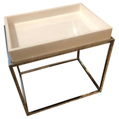 Modern Chic Tray Top Side Table with Chrome Base