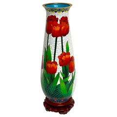 Modern Chinese Cloisonné Tulip Motif Tapered Vase and Stand