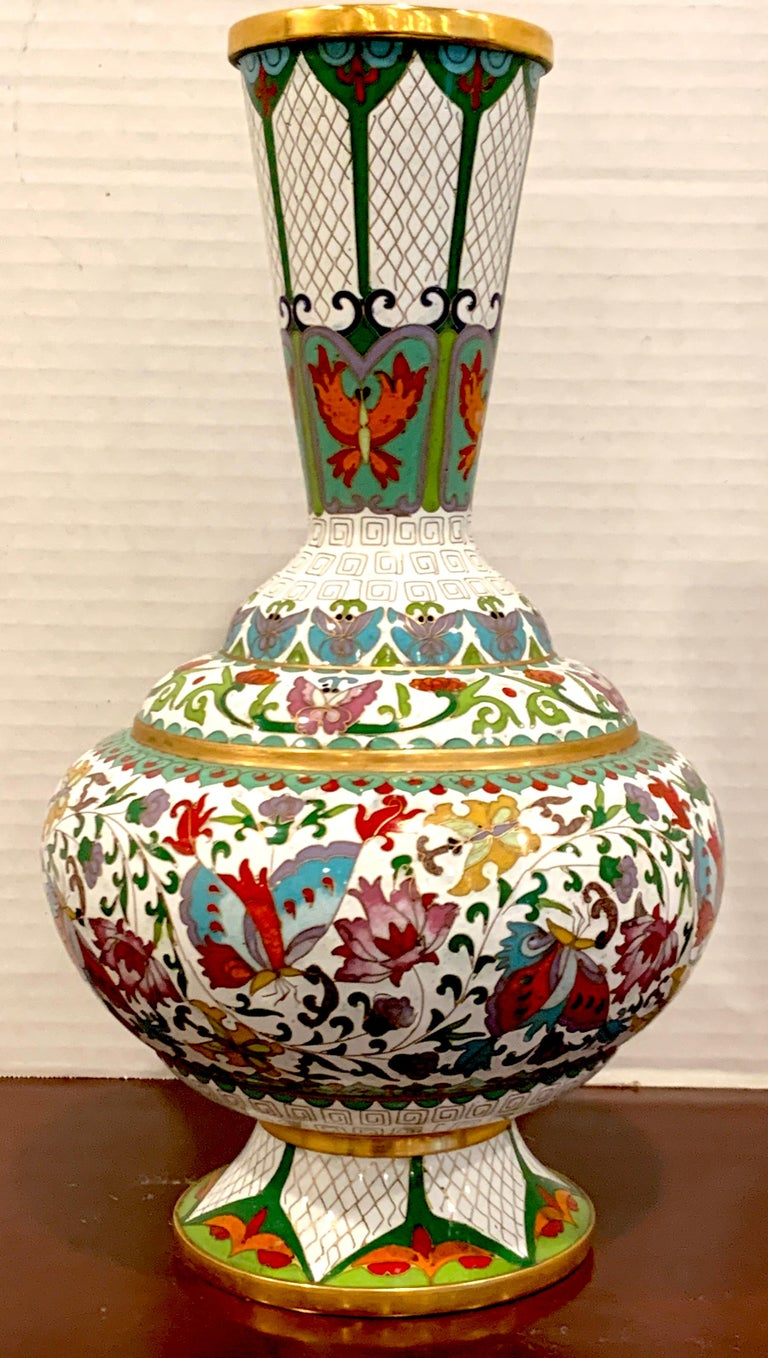 Brass Modern Chinese Cloisonné Vase, White Background and Butterflies For Sale