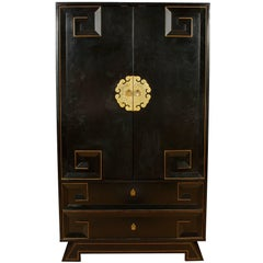 Modern Chinese Deco Style Gilt-Metal Mounted Ebonized Armoire