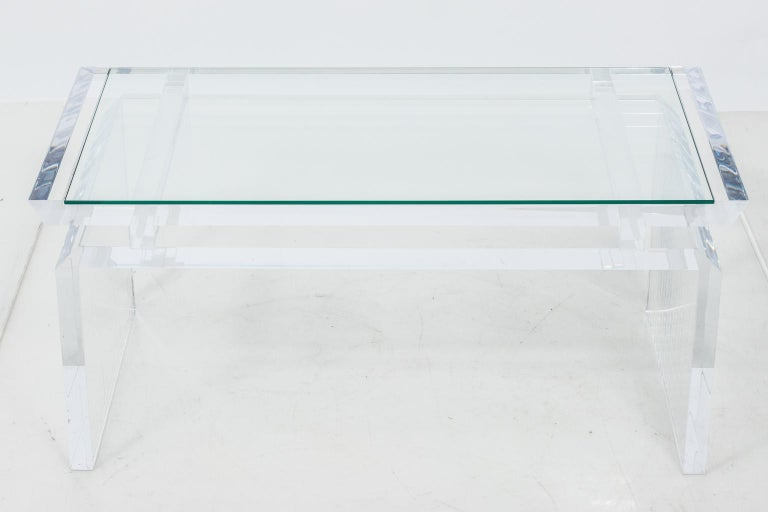 American Modern Chinoise Lucite Cocktail Table, circa 1970s For Sale