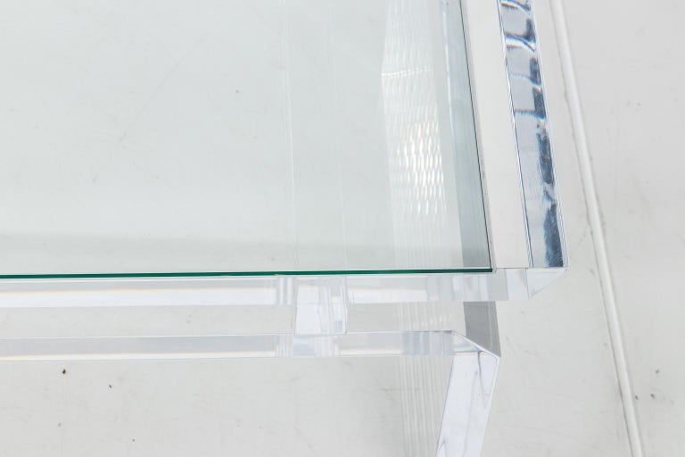 Glass Modern Chinoise Lucite Cocktail Table, circa 1970s For Sale
