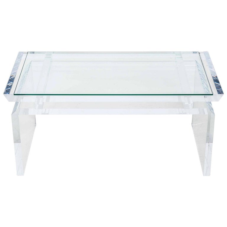 Modern Chinoise Lucite Cocktail Table, circa 1970s For Sale