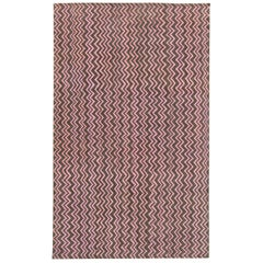 Modern Chocolate Brown & Dusty Pink Geometric Hand Knotted Wool Rug