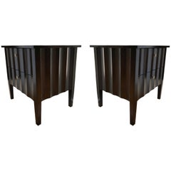 Modern Chocolate Brown Nightstands with Scalloped Detail on Drawers and Sides
