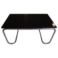 Modern Chrome and Black Oak Adjustable Dining Table or Writing Desk