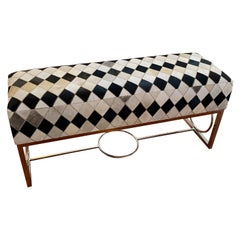Modern Chrome and Cowhide Bench