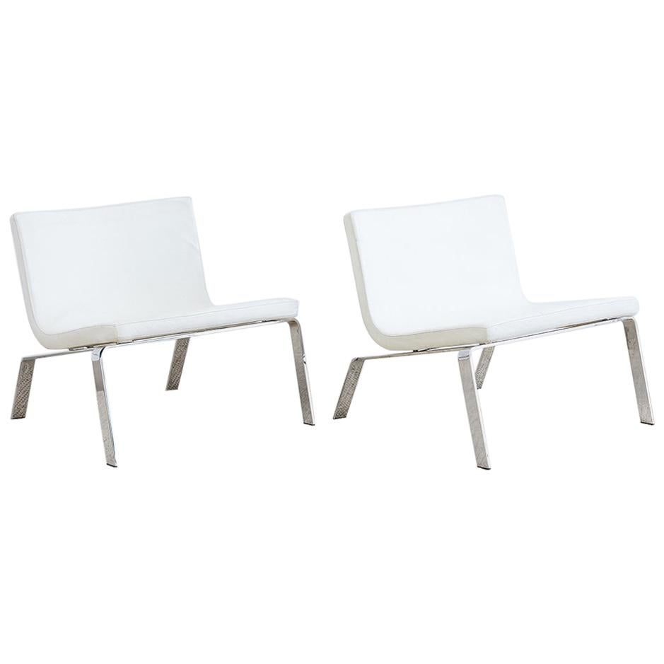 Modern Chrome and Faux Leather Lounge Chairs