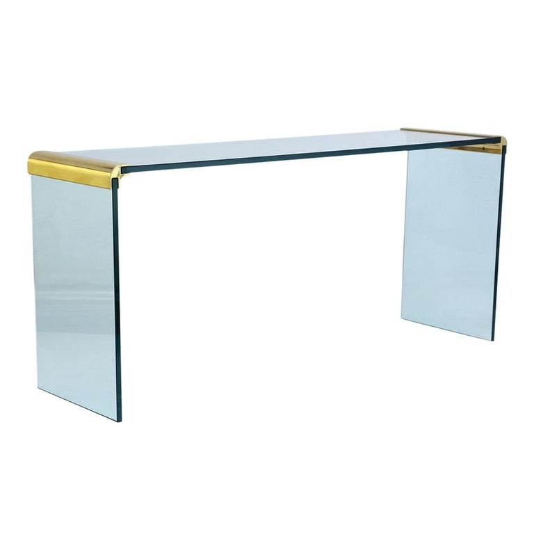 Modern Chrome And Glass Console Table For Sale At 1stdibs