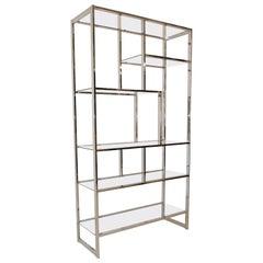 Modern Chrome and Glass Floating Shelf Étagère, 3 Available