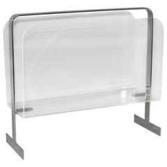 Modern Chrome and Lucite Magazine Rack Attribution Milo Baughman