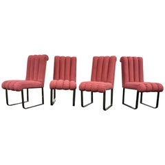 DIA Chrome and Pink Channel Back Dining Chairs, Design Institute America 1980