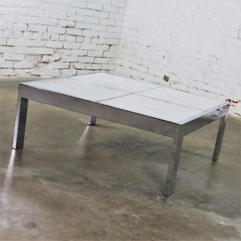Modern Chrome And White Marble Coffee Table Attributed To The Pace