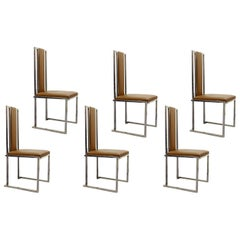 Modern Chrome Chairs with Leather Upholstery
