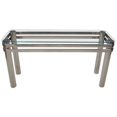 Modern Chrome Rectangle Console Sofa Table Glass Top Style Pace or Karl Springer