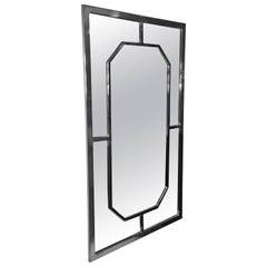 Modern Chrome Rectangular Mirror with Octagonal Center