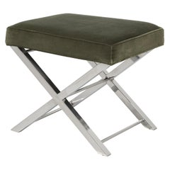 Modern Chrome Stool with Classic X-Style Frame in Original Condition