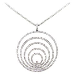 Modern Circle Diamonds White Gold Pendant Chain Necklace