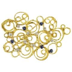 Modern Circle Sapphire Diamond Pendant/Pin