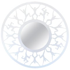 Modern Circular White Enameled 'Atlas' Mirror