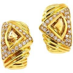 Modern Citrine Diamond Earrings