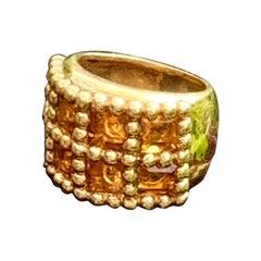 Modern Citrine Wide Band Style 18 Karat Yellow Gold Ring